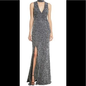 Alice & Olivia Arial Sequin V-Neck Gown